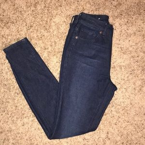 Boutique High Waisted Dark Wash Skinny Jeans